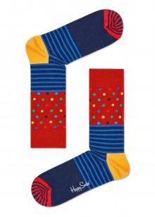 Happy Socks modro-červené ponožky Stripe Dot - 36-40