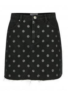 Černá puntíkovaná džínová minisukně Miss Selfridge