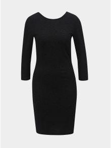 Černé třpytivé pouzdrové šaty s 3/4 rukávem Jacqueline de Yong