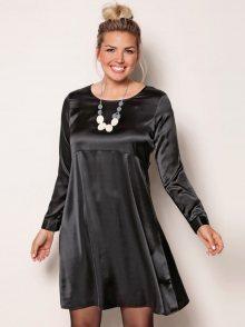 Venca Jednobarevné šaty s dlouhými rukávy černá L