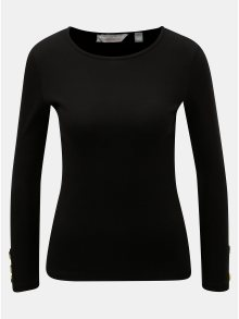 Černé tričko s knoflíky na rukávech Dorothy Perkins Petite