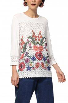 Desigual bílé tričko TS Brenda s barevnými motivy - M