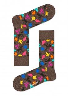 Happy Socks hnědo-šedé ponožky s listy a jeleny Fall - 36-40