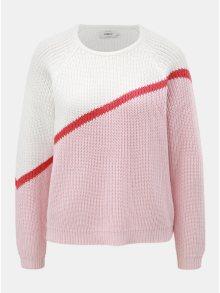Bílo-růžový svetr s dlouhým rukávem ONLY Hilde
