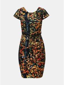 Oranžovo-černé vzorované šaty s páskem Smashed Lemon