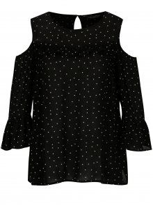 Černá vzorovaná halenka s průstřihy na ramenou Dorothy Perkins