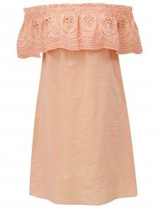 Meruňkové šaty s odhalenými rameny Dorothy Perkins