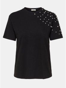 Černé tričko s korálkovou aplikací Jacqueline de Yong