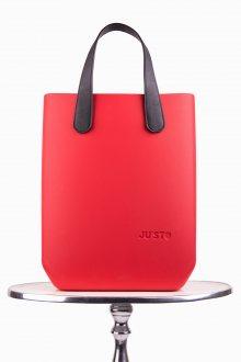 Justo kabelka J-High Rosso s černými krátkými koženkovými držadly