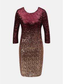 Vínové flitrované šaty s ombré efektem a 3/4 rukávem Dorothy Perkins