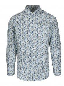Modro-bílá květovaná slim fit košile Selected Homme Do Nesel-Rio