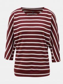 Vínový pruhovaný svetr s netopýřími rukávy ONLY Anna