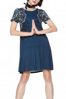 Desigual modré šaty Cora s potiskem  - XS