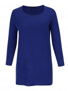 Modrý dlouhý svetr s rozparky M&Co Plus