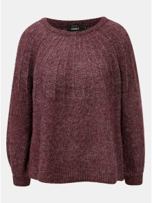 Vínový žíhaný svetr s příměsí vlny ONLY Hanna