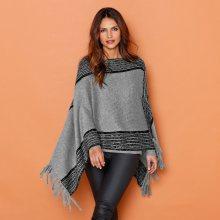 Blancheporte Dvoubarevný pončo pulovr šedý melír/černá 40/44