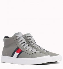 Tommy Hilfiger šedé kožené unisex tenisky Flag Detail High Leather Sneaker Light Grey  - 42