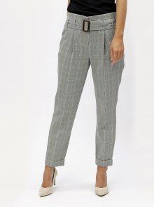 Šedé kostkované kalhoty s vysokým pasem Dorothy Perkins