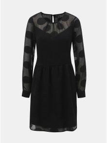 Černé puntíkované šaty s průsvitnými detaily a zavazováním VERO MODA Syra