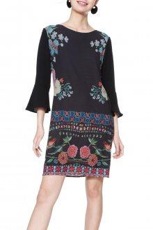 Desigual černé šaty Kramer s barevnými motivy - 34