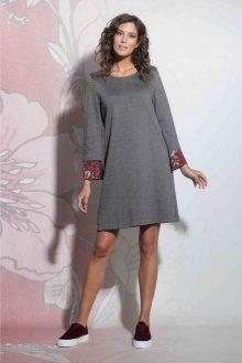 Deha šedé oversize šaty s květinovým lemováním - XS