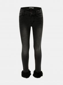 Šedé holčičí skinny džíny s umělým kožíškem Name it