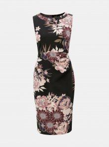 Vínovo-černé květované šaty s řasením na boku Apricot