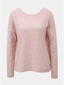 Světle růžový lehký svetr s mašlí za krkem ONLY Star
