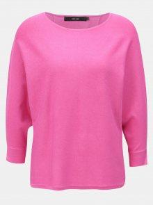 Růžový lehký volný svetr s 3/4 rukávem VERO MODA