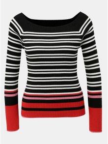 Bílo-černý pruhovaný lehký svetr s lodičkovým výstřihem Dorothy Perkins