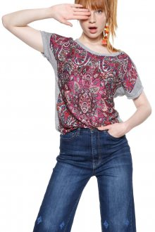 Desigual šedo-růžové tričko Sevilla - S