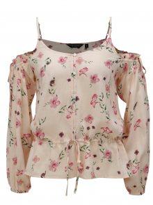 Světle růžová květovaná halenka s průstřihy na ramenou Dorothy Perkins