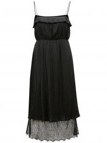 Černé plisované šaty s krajkou VILA Vivida
