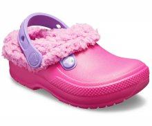 Crocs dětské zateplené pantofle Classic Blitzen Clog Candy Pink/Party Pink - C7