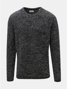 Tmavě šedý žíhaný svetr s kulatým výstřihem Shine Original