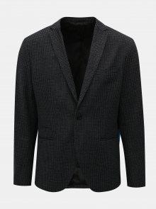 Šedo-černé kostkované sako s příměsí vlny Selected Homme