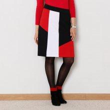 Blancheporte Sukně s grafickým vzorem, z úpletu Milano černá/bílá/červená 38