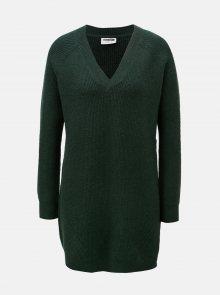 Tmavě zelený svetr s prodlouženou délkou a véčkovým výstřihem Noisy May Sati