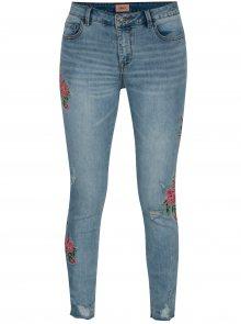 Světle modré džíny s výšivkami květin ONLY Carmen