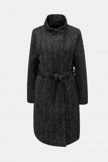 Černý žíhaný kabát s příměsí vlny ONLY Cindy