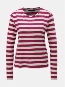 Krémovo-růžové pruhované basic tričko s dlouhým rukávem VERO MODA Sonia
