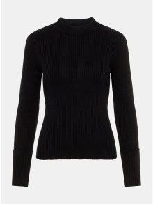 Černý žebrovaný svetr se stojáčkem VERO MODA AWARE Fine