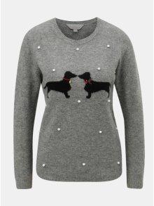 Šedý žíhaný svetr s vánočním motivem Dorothy Perkins Petite
