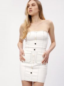 Krémové džínové minišaty s odhalenými rameny MISSGUIDED