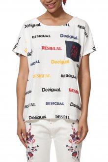 Desigual bílé tričko TS Kendall s logem - M