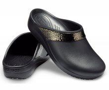 Crocs černé lesklé pantofle Sloane Hammered Met Clog Black - 35/36
