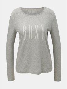 Šedé dámské žíhané tričko s potiskem Roxy Sunset