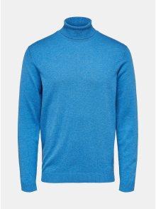 Modrý svetr s rolákem a příměsí hedvábí Selected Homme Tower
