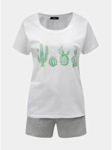 Šedo-bílé dámské dvoudílné žíhané pyžamo s motivem kaktusů ZOOT