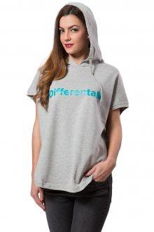 Differenta Design šedá dámská mikina Free Turquoise - XS